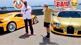 Rich Bugatti Owner Thinks He Can Beat 1000HP Lamborghini… LOL