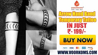 Voorkoms Arrow Tattoo Hand Band For Men And Women Waterproof Temporary Body Tattoo