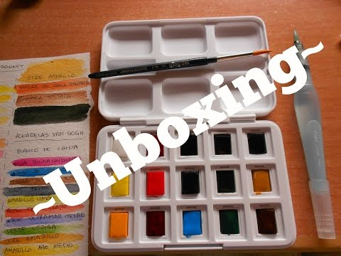 Unboxing 12+3 half pans Van Gogh Watercolor Pocket Box / Abriendo acuarelas Van Gogh