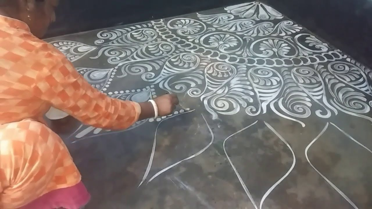 corner alpana rangoli design easy freehand by insta arts and designs