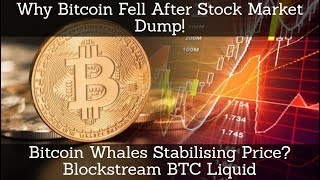 Why Bitcoin Fell After Stock Market Dump! Bitcoin Whales Stabilising Price? Blockstream BTC Liquid