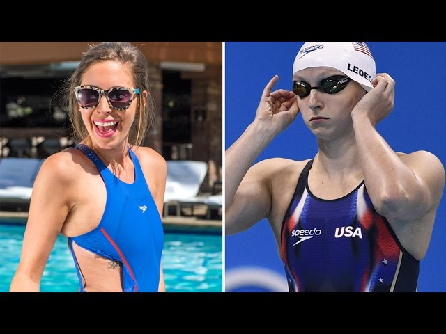 Now that we were properly warned, it was time to get our Michael Phelps and  Katie Ledecky on and actually try the suits on at the Hollywood Roosevelt's  pool ...
