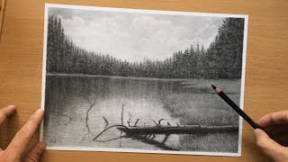 River Landscape Charcoal Drawing