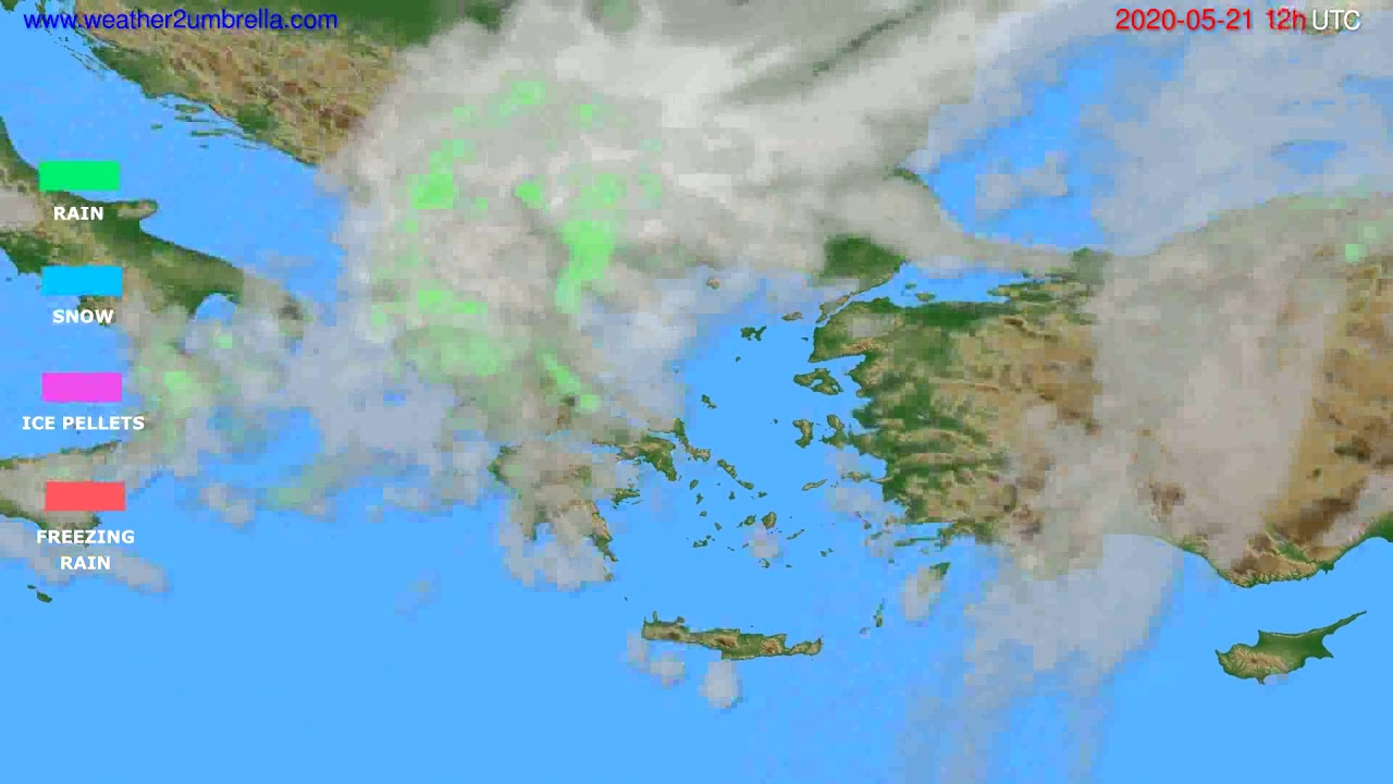 Precipitation forecast Greece // modelrun: 00h UTC 2020-05-21