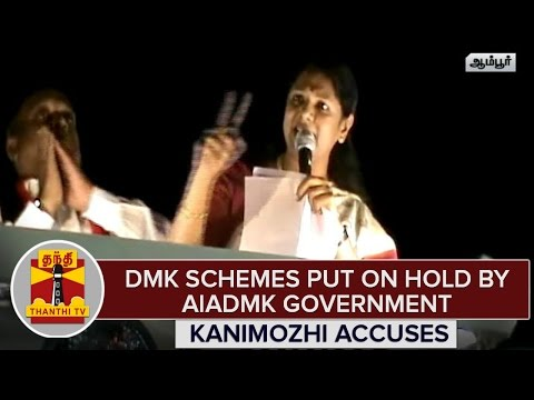 TN-Elections-2016--DMK-Schemes-Put-On-Hold-By-AIADMK-Govt--Kanimozhi-Accuses