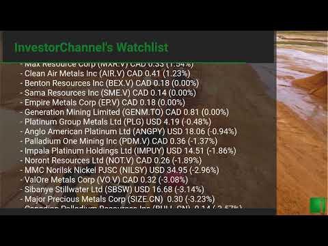 InvestorChannel's Palladium Watchlist Update for Friday, January, 22, 2021, 16:12 EST