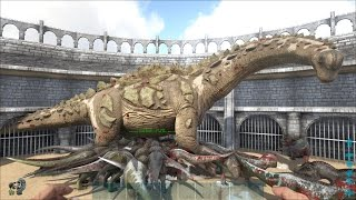 ARK: Survival Evolved - Lấy 100 con khủng long T-Rex đánh nhau với Titanosaur =))