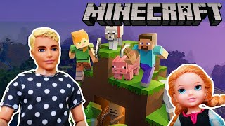 ELSA AND ANNA MINECRAFT! Elsa and Anna and Kristoff Toddlers play Minecraft.