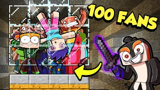 100 Players TRAPPED inside a MOB FARM! (First Out Wins $$$)