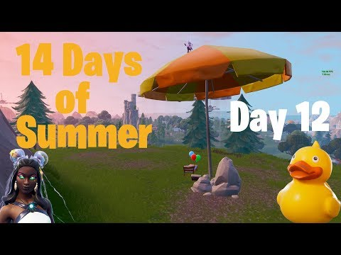 Fortnite 14 Days of Summer Day 12 Visit a giant beach umbrella and huge rubber ducky in single match