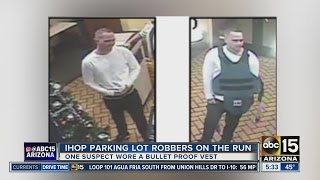 IHOP parking lot robbers on the run