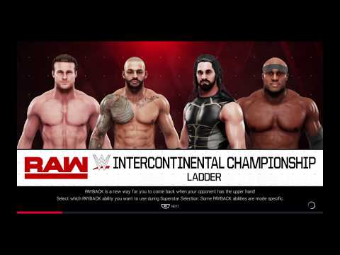 WWE 2K19 Ricochet VS Lashley,Ziggler,Rollins Alt. Fatal 4-Way Ladder Match Intercontinental Title