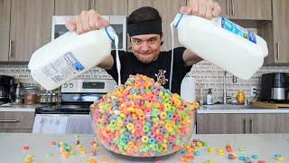 MASSIVE Bowl of Fruit Loops Challenge + Gallon of Milk