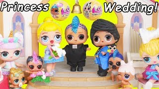Cinderella Princess LOL Surprise Custom Dolls Wedding + Married to Prince with Unicorn Lil Punk Girl