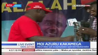 Gideon Moi speaks in Kakamega during a fundraiser hosted by Senator Malala