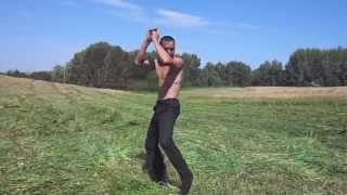 The rural tractor operator dances beautifully