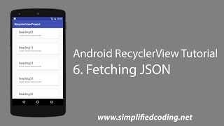 6. Android RecyclerView Tutorial - Fetching JSON from Server