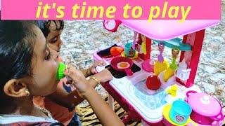 കുട്ടികൾക്കൊപ്പം നമുക്ക് കുറച്ച് നേരം കളിച്ചാലോ🤗|Kids playing with their kitchen set