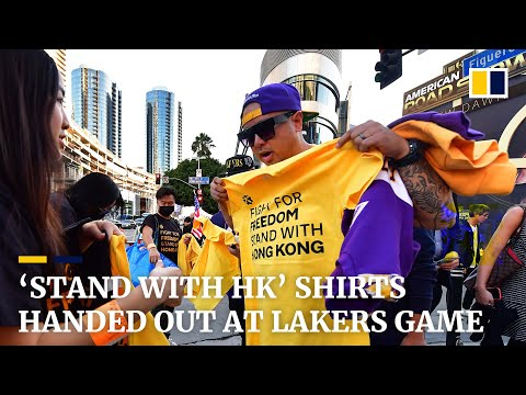 'Stand with Hong Kong' shirts handed out before LA Lakers game