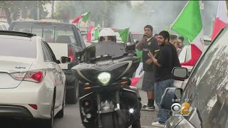 Mexico Fans Pour Into LA Streets To Celebrate World Cup Win