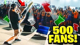 500 FANS vs GIANT T-SHIRT CANNON!