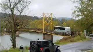 A 35 ton bus crosses a bridge with a 10 ton weight limit.