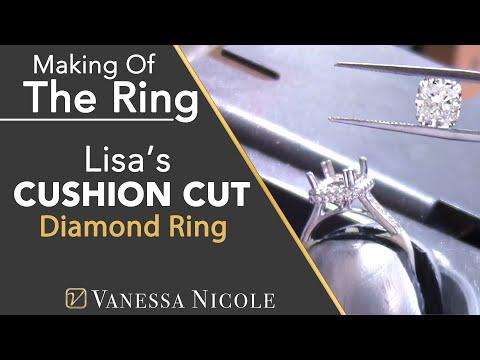 DOUBLE EDGE HALO DIAMOND RING   Making An Engagement Ring   Lisa's Cushion Cut Halo Ring