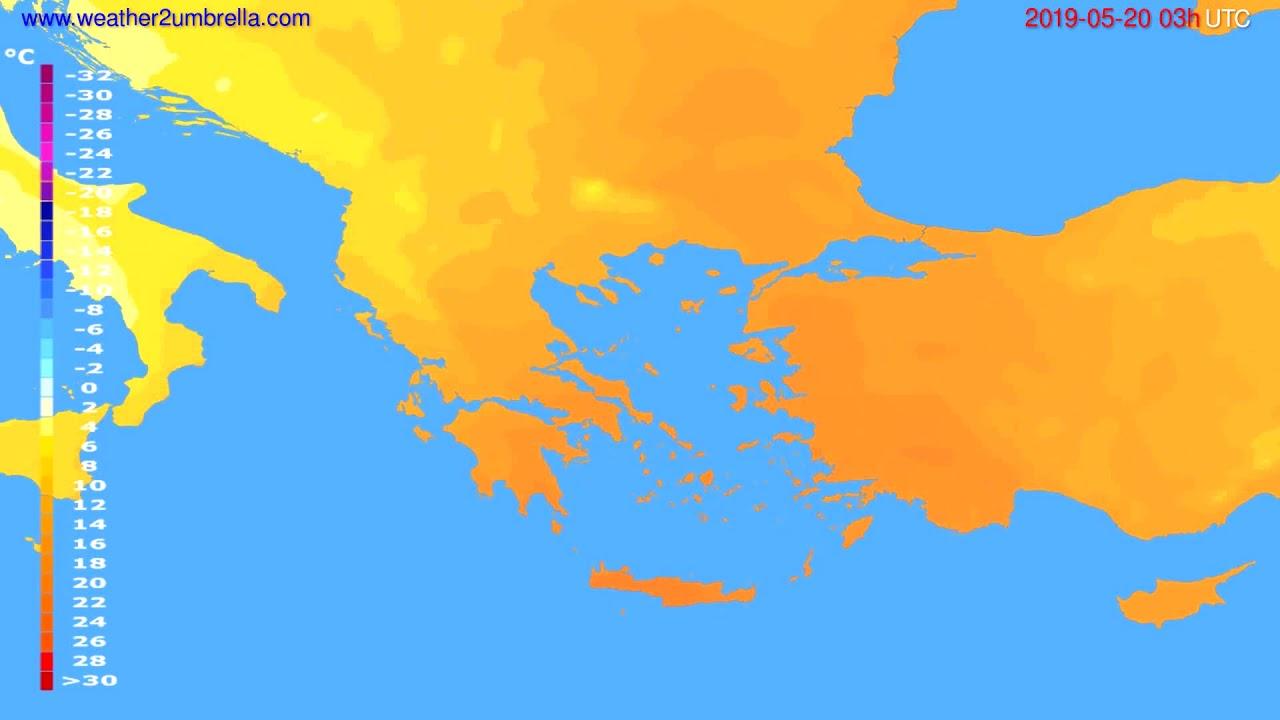Temperature forecast Greece // modelrun: 00h UTC 2019-05-17