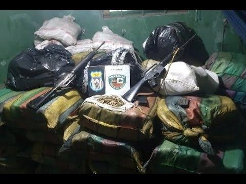 Polícia Militar de Anori apreende cerca de 2 toneladas de drogas, fuzis e munições
