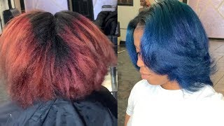 Coloring my clients hair from Red to Blue   Blue hair color