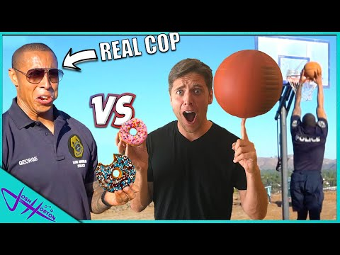 CHALLENGING POLICE OFFICER TO 1v1 BASKETBALL! *Score A Point, Eat A Donut*