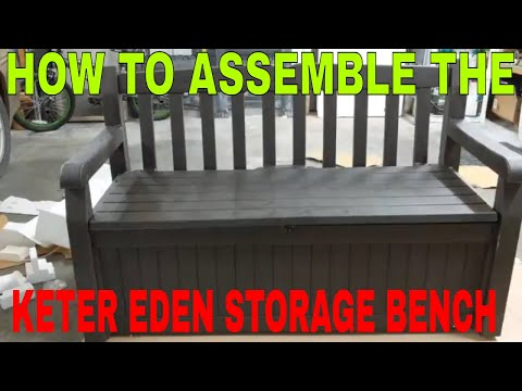 KETER EDEN ALL WEATHER STORAGE BENCH UNBOXING ASSEMBLY AND REVIEW