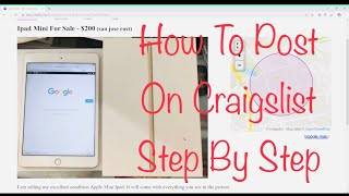 How To Post On Craigslist In 2020 Step By Step Tutorial