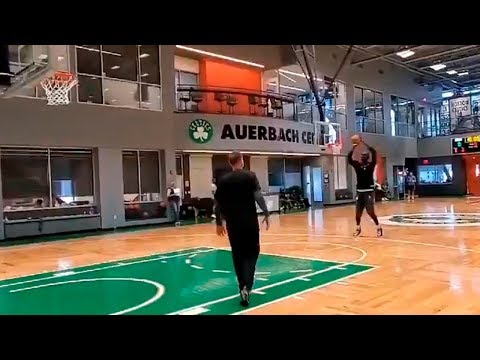 Tacko Fall hitting a bunch of 3's ! Carsen Edwards working on some deep 3's