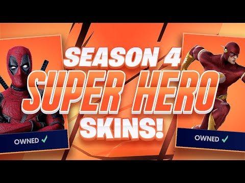 NEW SEASON 4 SUPER HERO SKINS LEAKED!!  FORTNITE BATTLE ROYALE WITH TEAM ALBOE!!