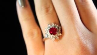 ビルマ産ピジョンブラッドルビーリング(指輪)1.2ctプラチナダイヤモンドデコレーション