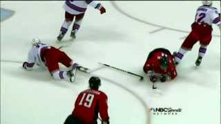 Marc Staal HUGE hit on Alexander Ovechkin. May 2nd 2012