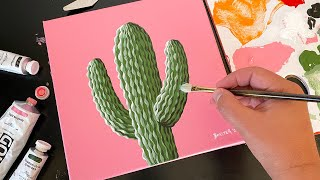 Saguaro Cactus|Easy Acrylic Painting On Canvas Step By Step|Satisfying Demo