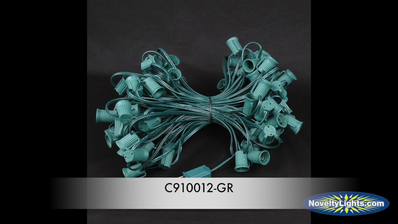 Picture of C9 100' String on Brown Wire, 100 Sockets