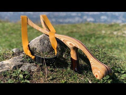 Präzisionsschleuder selber bauen | Steinschleuder mit Armstütze | Subtitled