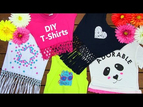 DIY Clothes! DIY 5 T-Shirt Crafts (T-Shirt Cutting Ideas and Projects with 5 Outfits)
