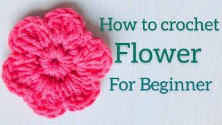 How To Crochet A Flower | Easy  | For Beginners | Crochetlyn