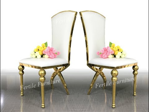 X legs high back golden stainless steel wedding chairs