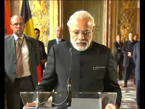 PM Modi & Belgian PM Mr Charles Michel at Joint Press Statements in Brussels