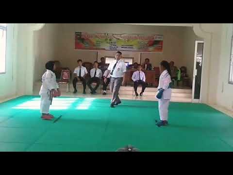Final Kumite putri O2SN tingkat SD kabupaten Oku timur Miftah MPA (aka) vs Nadiva Buay Madang (ao)