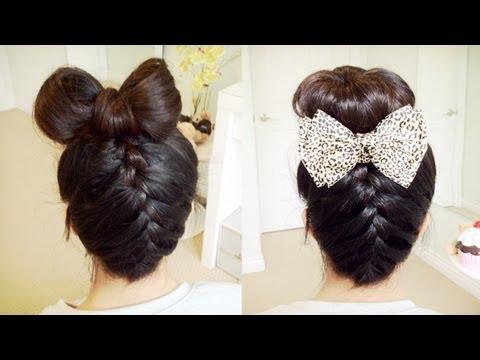 Upside Down French Braid Hair Bow + Sock Bun Updo Hair Tutorial - Bebexo (видео)