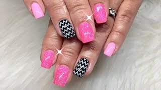 Pink Glitter And Chevron Gel Nails