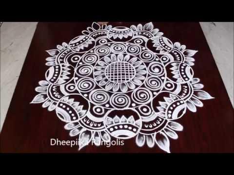 beautiful muggulu diwali rangoli design by dheepiika