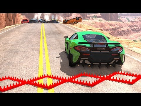Spike Strip Multi-Vehicle Pileup Crashes #10 - BeamNG Drive Police Spike Strip Testing