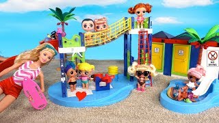 Barbie LOL Family Baby Goldie School Field trip to Water Park Morning Routine
